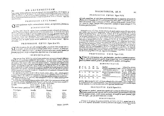 """""""Ad Arithmeticam inifnitorum"""" - Liber II. """"De triangularibus et Quadratis"""" - Propositio CXX.-CLXXII. - [Boulliau, Ismael, 1605-1694] - [[S.l.] : Il Giardino di Archimede, 1682.]"""