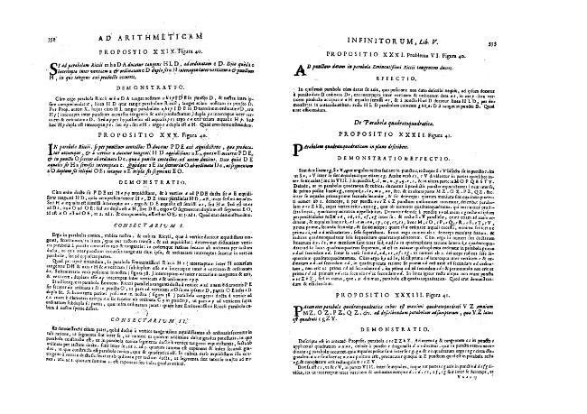 """Ad Arithmeticam inifnitorum""- Liber V.""De cono, cylindris, et sphaera""- Pars II. ""De Parabolis""[Propositio XXXII.-LIII.]. - [Boulliau, Ismael, 1605-1694] - [[S.l.] : Il Giardino di Archimede, 1682.]"