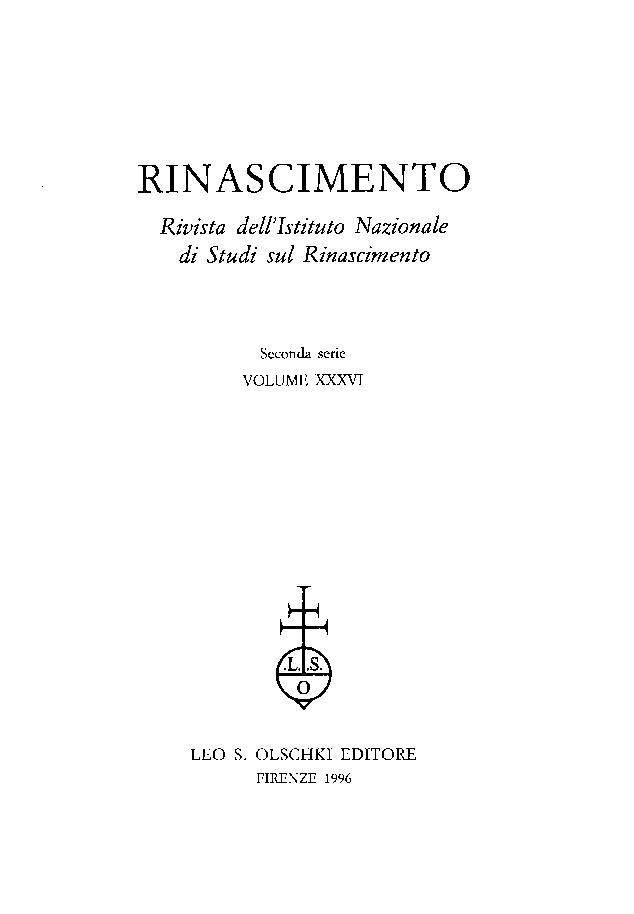 Rinascimento : rivista dell'Istituto Nazionale di Studi sul Rinascimento : seconda serie, XXXVI, 1996 -  - [Firenze : L.S. Olschki, 1996.]