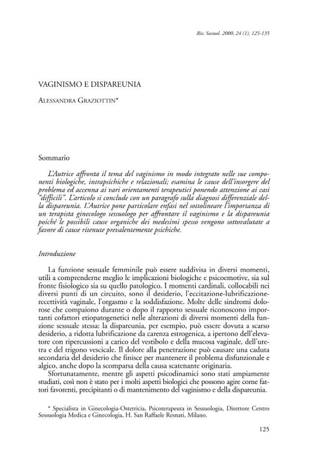 Vaginismo e dispareunia - [Graziottin, Alessandra] - [Bologna : [poi] Roma : CLUEB  ; CIC Edizioni Internazionale, 2000.]