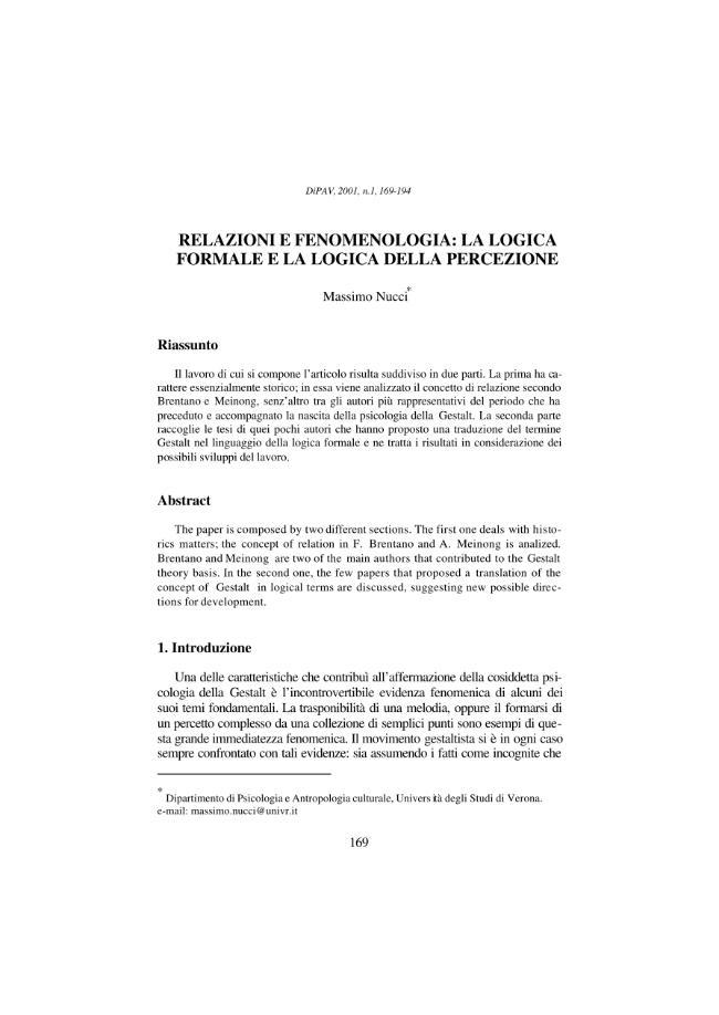 Relazioni e fenomenologia : la logica formale e la logica della percezione - [Nucci, Massimo] - [Milano : Franco Angeli, 2001.]