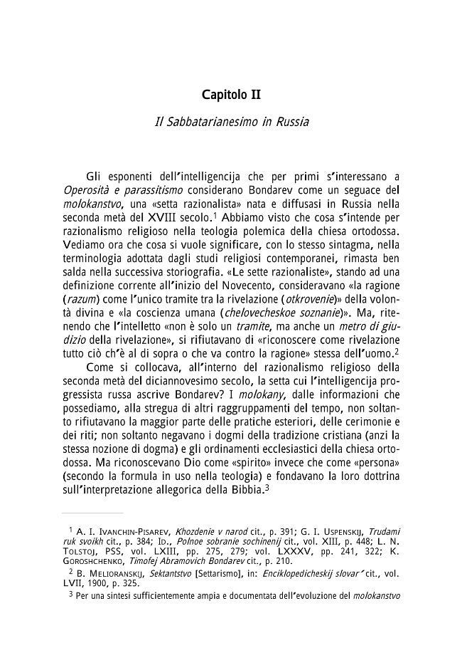 """""""Il lavoro del pensiero"""" - Capitolo II : Il sabbatarianesimo in Russia - [Salomoni, Antonella] - [Genova : Name, 2001.]"""