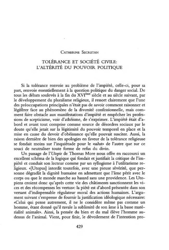 Tolérance et société civile : l'altérité du pouvoir politique - [Secretan, Catherine] - [Firenze : L.S. Olschki, 2001.]