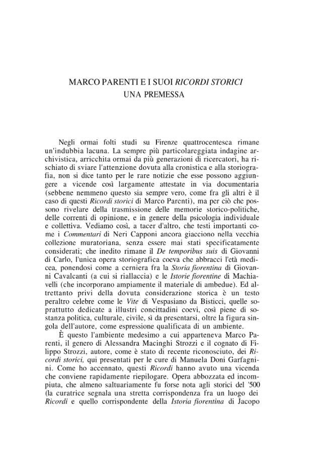 """Marco Parenti e i suoi """"Ricordi storici"""". Una premessa - [Fubini, Riccardo] - [Roma : Edizioni di storia e letteratura, 2001.]"""