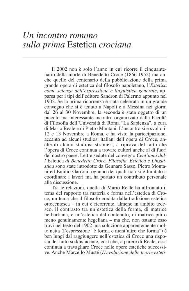 Un incontro romano sulla prima Estetica crociana - [D'Angelo, Paolo] - [Modena : [poi] Bologna : Enrico Mucchi Editore  ; CLUEB, 2002.]
