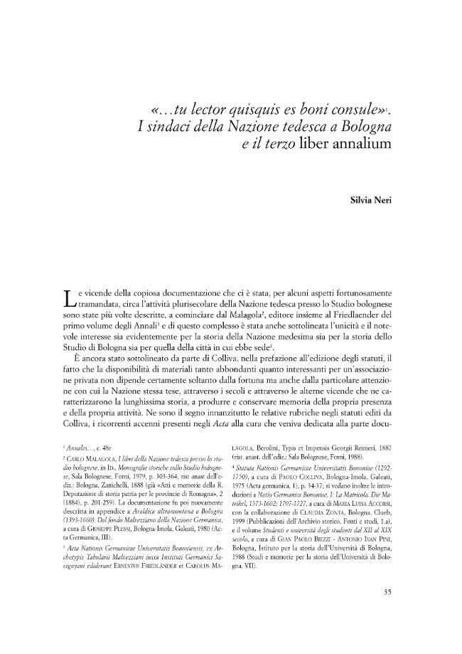 """""""... tu lector quisquis es boni consule"""". I sindaci della Nazione tedesca a Bologna e il terzo """"liber annalium"""" - [Neri, Silvia] - [Bologna : CLUEB, 2002.]"""