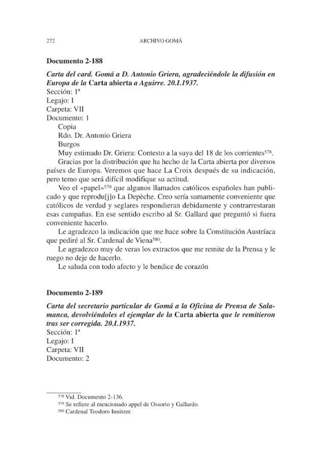 Archivo Gomá : documentos de la Guerra Civil : vol. 2 : enero de 1937 - [Andrés Gallego, José, 1944-, editor, Pazos, Antón M, editor] - [Madrid : CSIC, Consejo Superior de Investigaciones Científicas, 2002.]