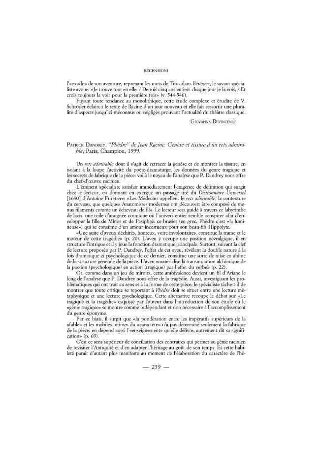 """PATRICK DANDREY, """"Phèdre"""" de Jean Racine. Genèse et tissure d'un rest admirable, Paris, Champion, 1999 - [Devincenzo, Giovanna (rec.)] - [Firenze : L.S. Olschki, 2002.]"""