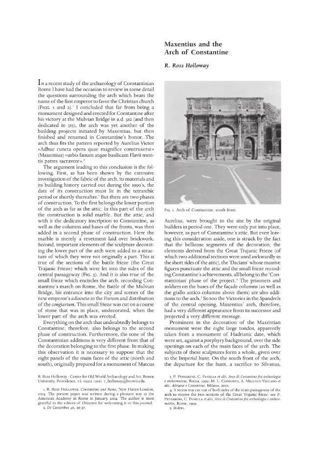 Maxentius and the Arch of Constantine - [Ross Holloway, R.] - [Pisa-Roma : [S.l.] : Istituti editoriali e poligrafici internazionali  ; Fabrizio Serra, 2003.]