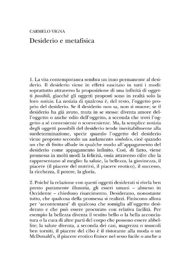 Desiderio e metafisica - [Vigna, Carmelo] - [Milano : Vita e Pensiero, 2003.]