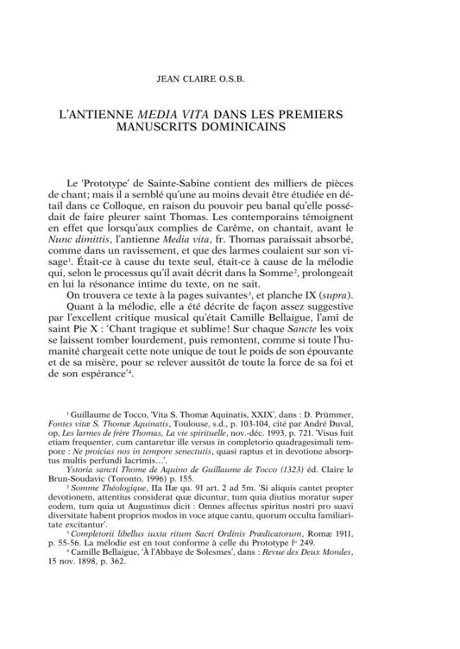 """L'antienne """"Media Vita"""" dans les premiers manuscrits dominicains - [Claire, Jean O.S.B.] - [Rome : Paris (F) : École française de Rome  ; CNRS, 2004.]"""