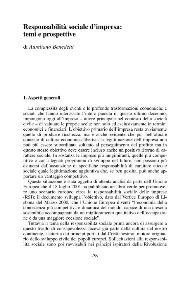 Responsabilità sociale d'impresa : temi e prospettive - [Benedetti, Aureliano] - [Milano : Franco Angeli, 2004.]