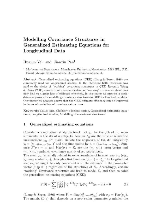Modelling Covariance Structures in Generalized Estimating Equations for Longitudinal Data - [Pan, Jianxin, Ye, Huajun] - [Firenze : Firenze University Press, 2004.]