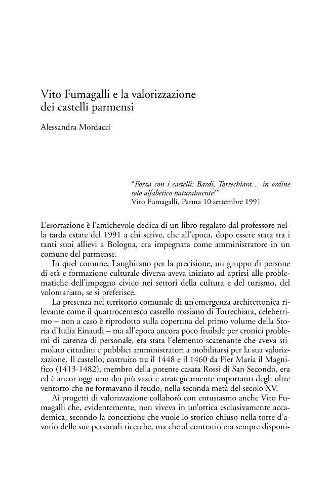 Vito Fumagalli e la valorizzazione dei castelli parmensi - [Mordacci, Alessandra] - [Bologna : CLUEB, 2005.]
