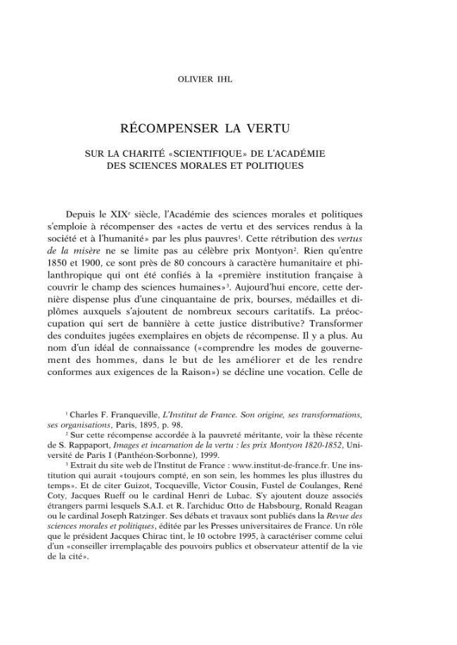 """Récompenser la vertu : sur la charité """"scientifique"""" de l'Académie des Sciences morales et politiques. - [Ihl, Olivier] - [Roma : École française de Rome, 2005.]"""