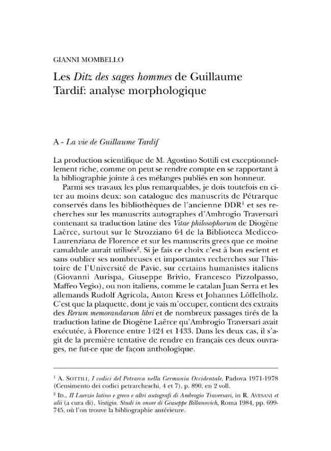 """Les """"Ditz des sages hommes"""" de Guillaume Tardif: analyse morphologique - [Mombello, Gianni] - [Milano : Vita e Pensiero, 2005.]"""