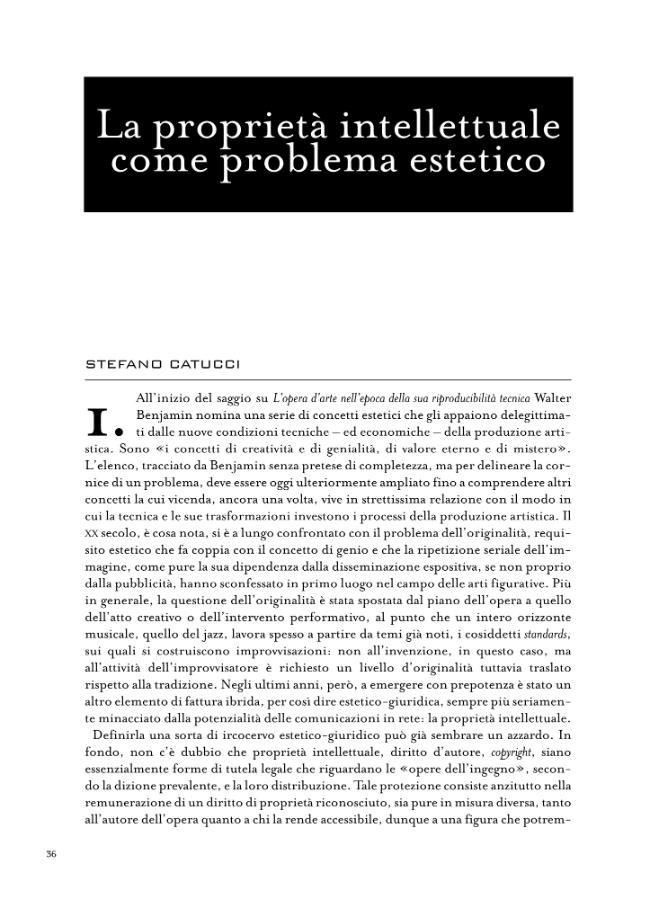 La proprietà intellettuale come problema estetico - [Catucci, Stefano] - [Roma : DeriveApprodi, 2007.]