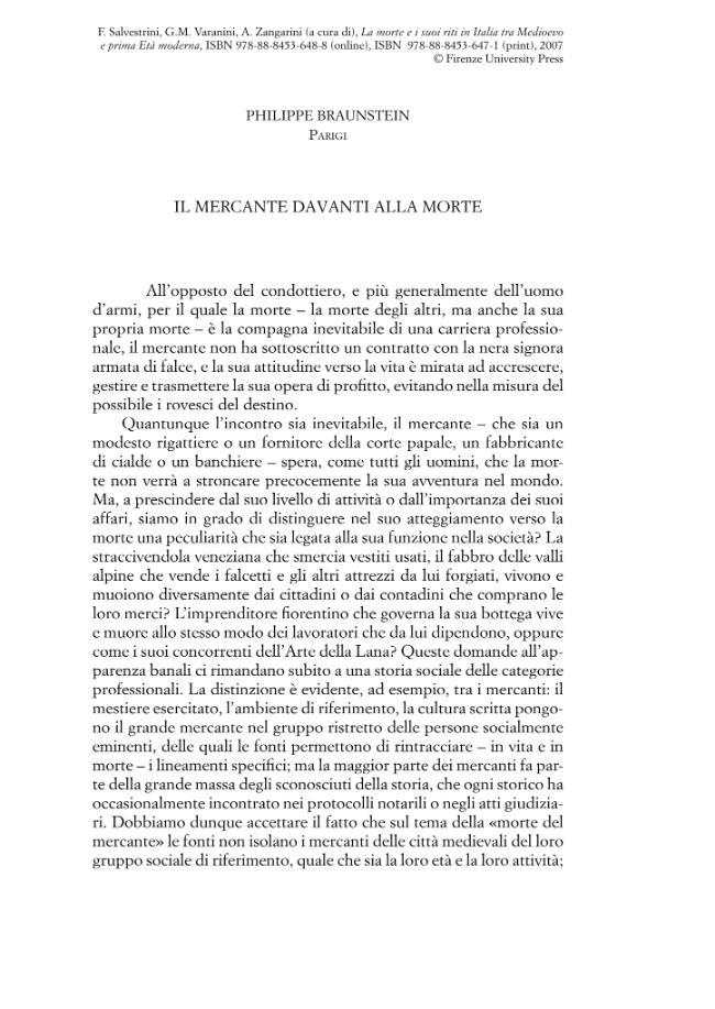 Il mercante davanti alla morte - [Braunstein, Philippe] - [Firenze : Firenze University Press, 2007.]