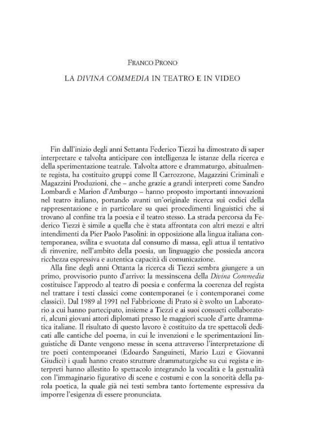 """La """"Divina Commedia"""" in teatro e in video - [Prono, Franco] - [Roma : Edizioni di storia e letteratura, 2007.]"""