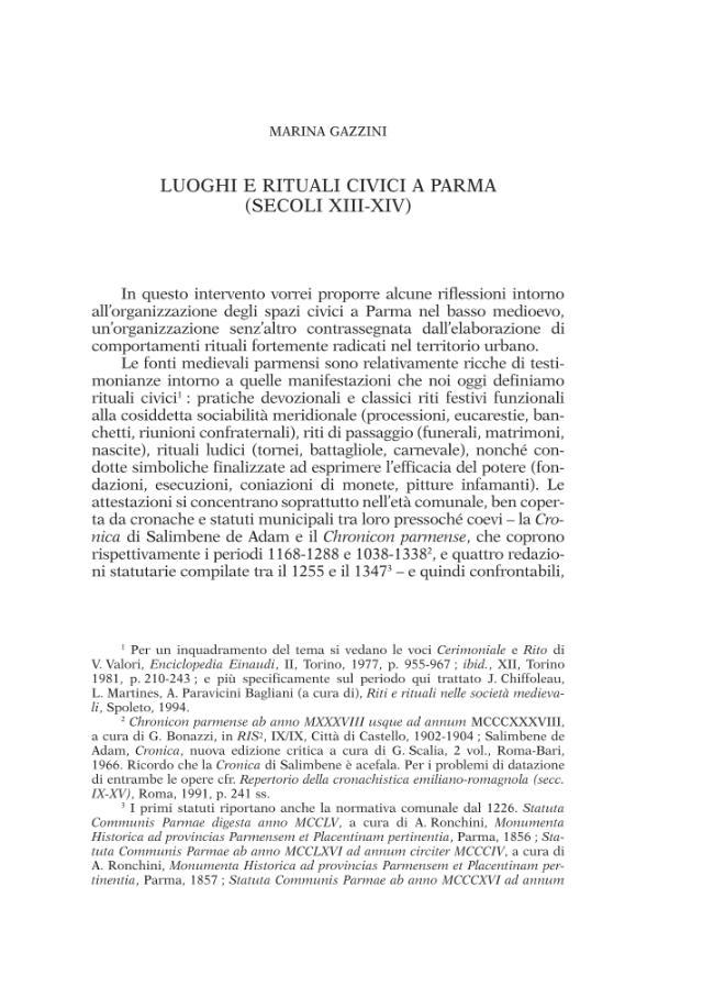 Luoghi e rituali civici a Parma : secoli XIII-XIV - [Gazzini, Marina] - [Roma : École française de Rome, 2008.]
