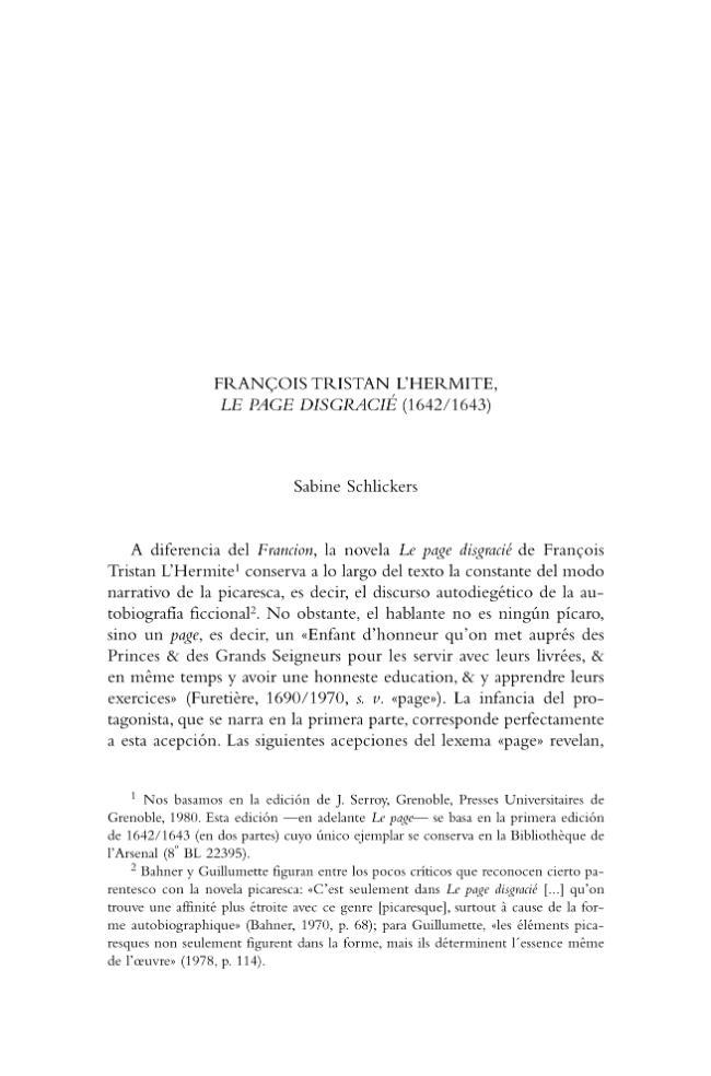 François Tristan L'Hermite, Le page disgracié (1642/1643) - [Schlickers, Sabine] - [Madrid : Iberoamericana Vervuert, 2008.]