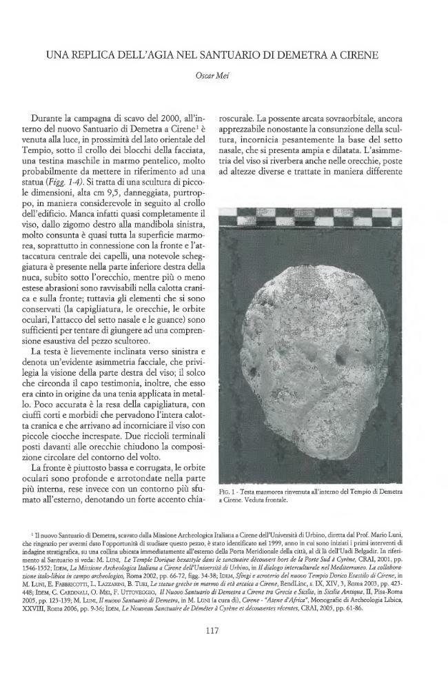 """Una replica dell'Agia nel Santuario di Demetra a Cirene - [Mei, Oscar] - [Roma : """"L'Erma"""" di Bretschneider, 2010.]"""