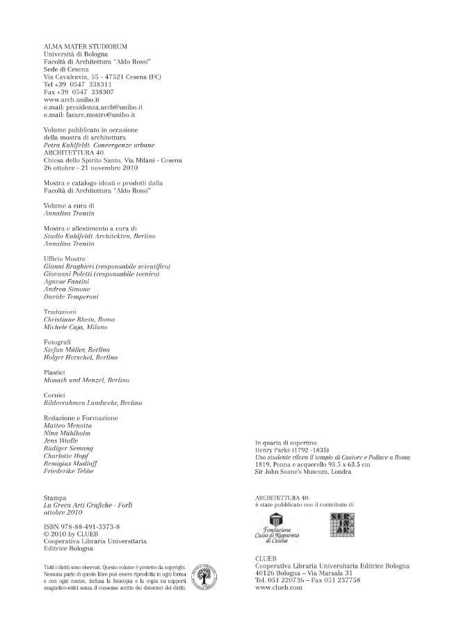 Petra Kahlfeldt : convergenze urbane - [Trentin, Annalisa] - [Bologna : CLUEB, 2010.]