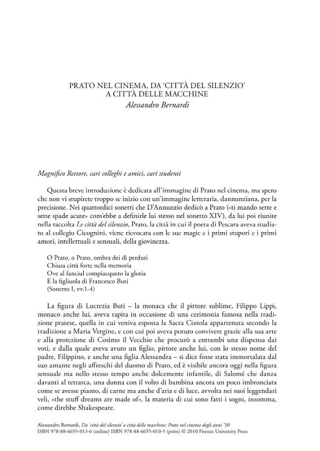 Da città del silenzio a città delle macchine : Prato nel cinema degli anni '50 - [Bernardi, Alessandro] - [Firenze : Firenze University Press, 2010.]