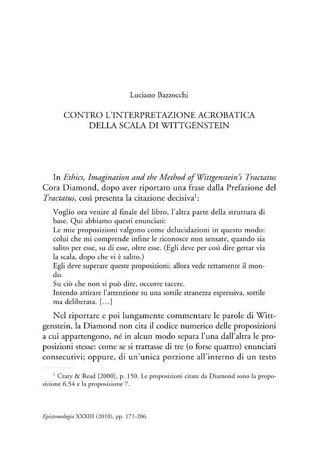 Contro l'interpretazione acrobatica della scala di Wittgenstein - [Bazzocchi, Luciano] - [Genova : Tilgher, 2010.]