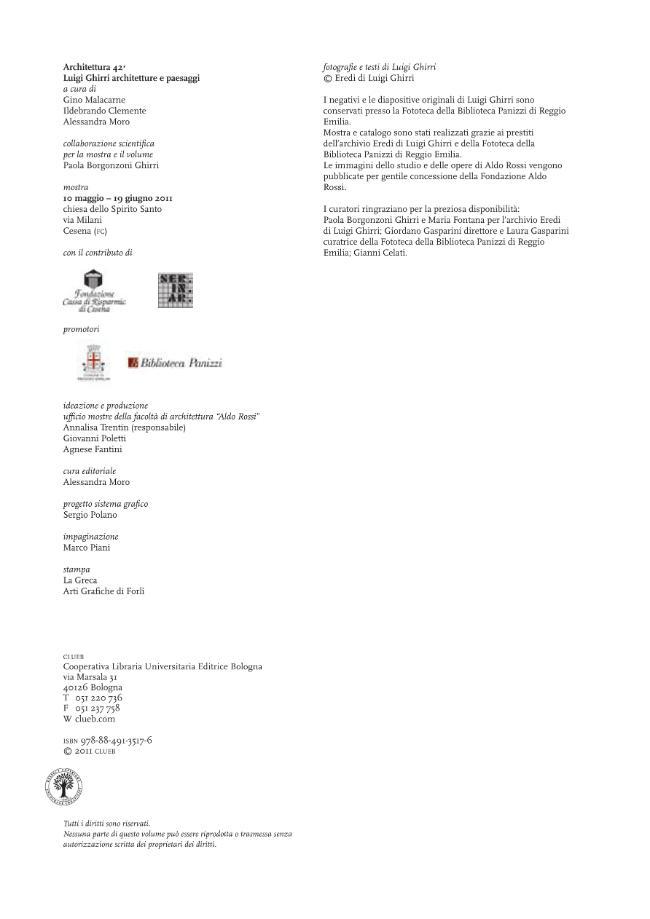 Architettura 42 : Luigi Ghirri : architetture e paesaggi - [Moro, Alessandra, Malacarne, Gino, Clemente, Ildebrando] - [Bologna : CLUEB, 2011.]