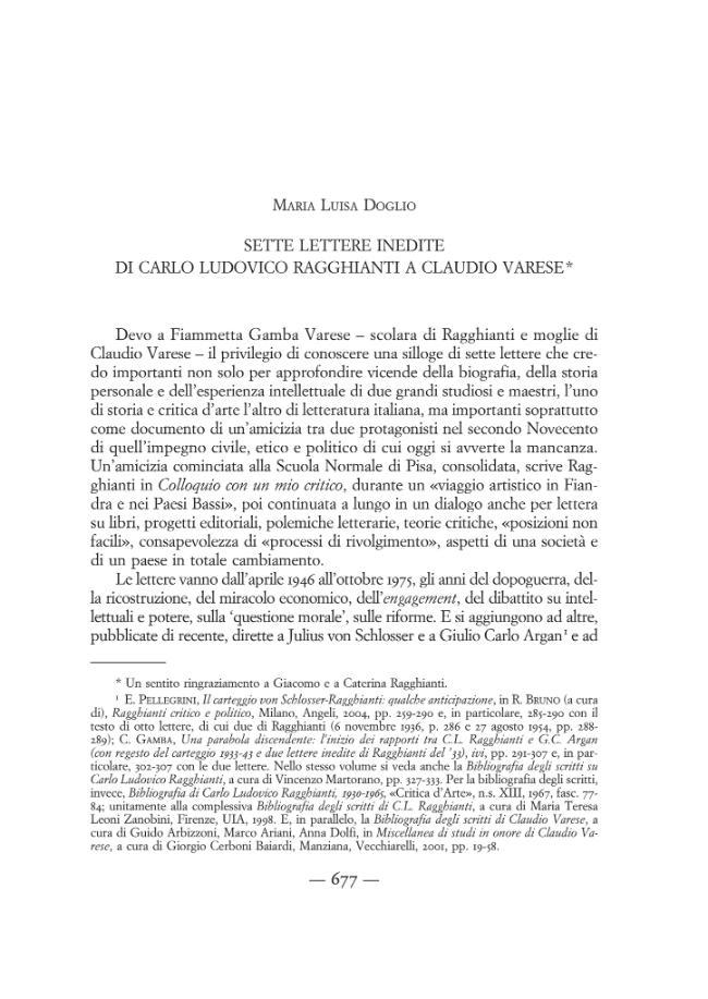 Sette lettere inedite di Carlo Ludovico Ragghianti a Claudio Varese - [Doglio, Maria Luisa] - [Firenze : L.S. Olschki, 2011.]