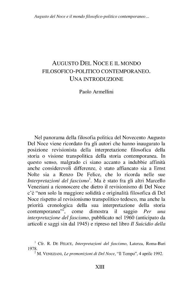 Augusto Del Noce e il mondo filosofico-politico contemporaneo : una introduzione - [Armellini, Paolo] - [Roma : Drengo, 2012.]