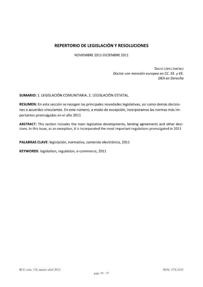 Legislación y resoluciones. - [López Jiménez, David] - [Madrid : Dykinson, 2012.]
