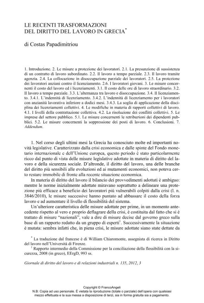 Le recenti trasformazioni del diritto del lavoro in Grecia - [Papadimitriou, Costas.] - [Milano : Franco Angeli, 2012.]