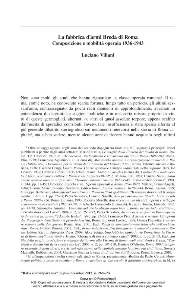 La fabbrica d'armi Breda di Roma : composizione e mobilità operaia 1936-1943 - [Villani, Luciano] - [Milano : Franco Angeli, 2012.]