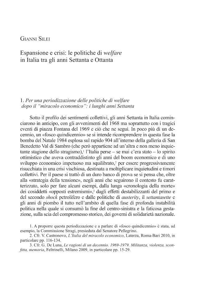 Espansione e crisi : le politiche di welfare in Italia tra gli anni Settanta e Ottanta - [Silei, Gianni] - [Roma : Viella, 2012.]