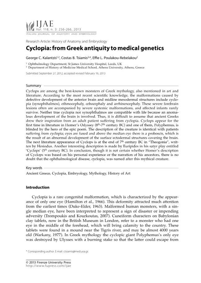 Cyclopia From Greek Antiquity To Medical Genetics Kalantzis