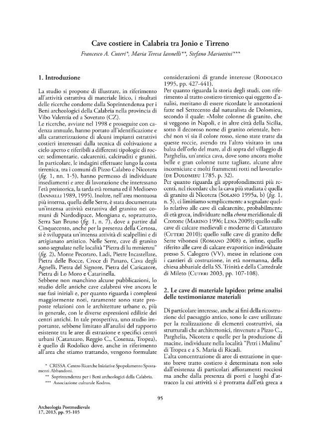 Cave costiere in Calabria tra Jonio e Tirreno - [Cuteri, Francesco A., Iannelli, Maria Teresa, Mariottini, Stefano] - [Firenze : All'insegna del giglio, 2013.]