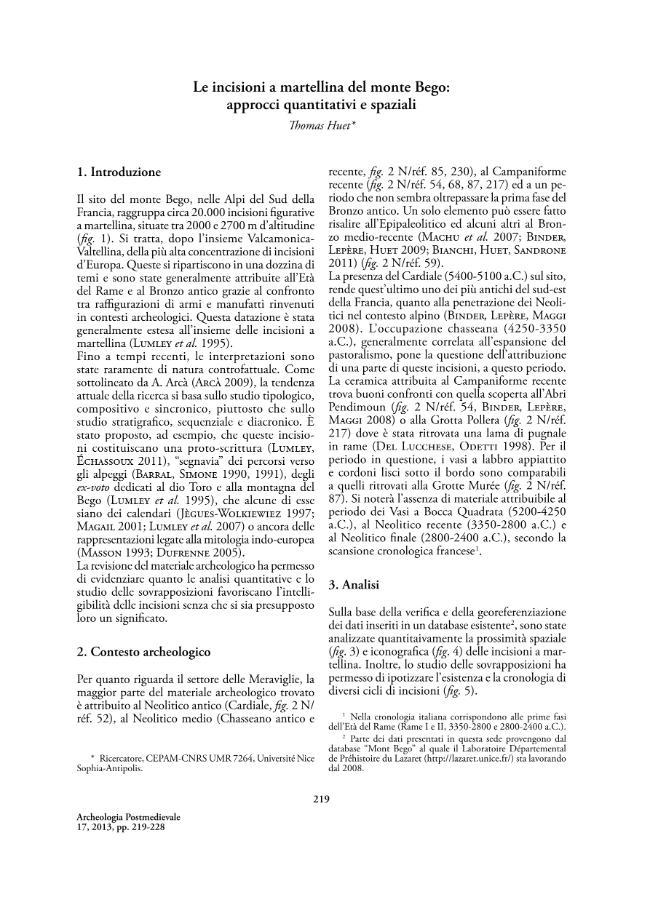 Le incisioni a martellina del monte Bego : approcci quantitativi e spaziali - [Huet, Thomas.] - [Firenze : All'insegna del giglio, 2013.]