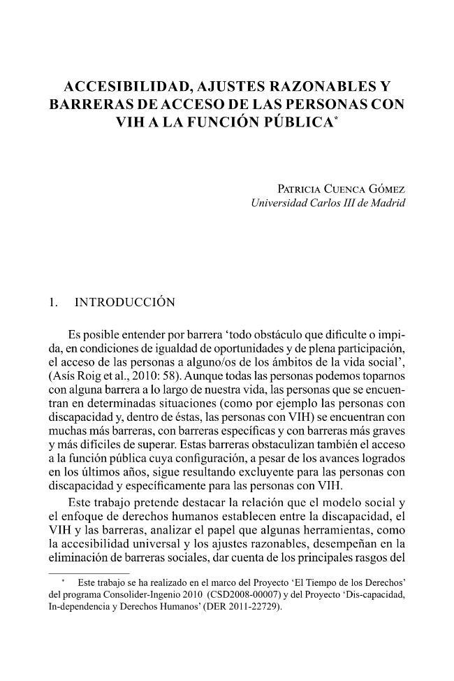 Accesibilidad, ajustes razonables y barreras de acceso de las personas con VIH a la función pública - [Barranco Avilés, María del Carmen] - [Madrid : Dykinson, 2013.]