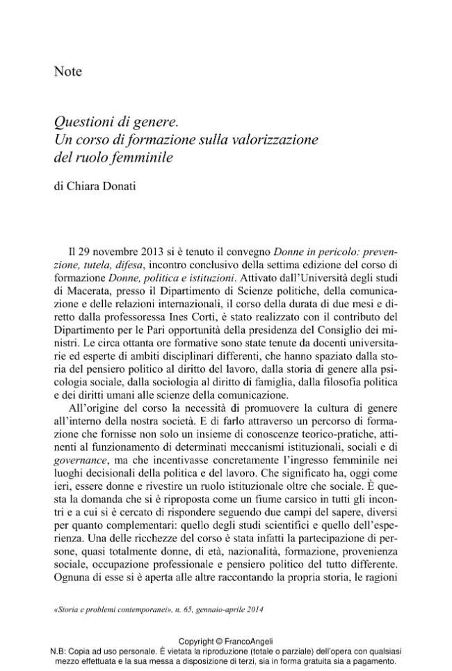 Questioni di genere : un corso di formazione sulla valorizzazione del ruolo femminile - [Donati, Chiara] - [Milano : Franco Angeli, 2014.]