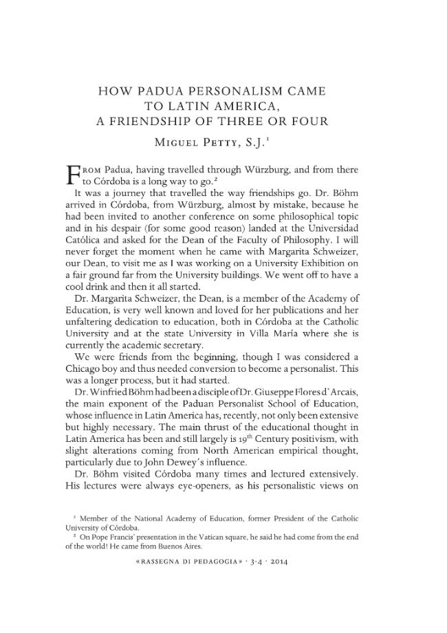 How Padua Personalism came to Latin America, a friendship of three or four - [Petty, Miguel] - [Pisa : Fabrizio Serra, 2014.]
