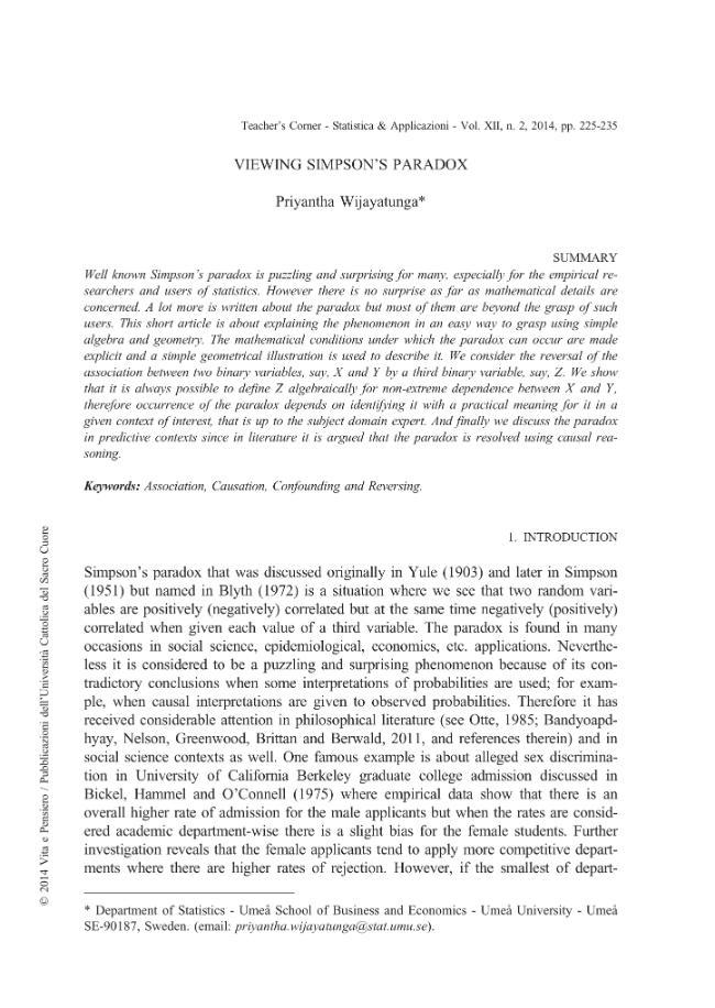Viewing Simpson's Paradox - [Wijayatunga, Priyantha] - [Milano : Vita e Pensiero, 2014.]