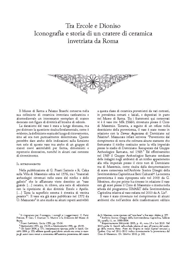 """Tra Ercole e Dioniso : iconografia e storia di un cratere di ceramica invetriata da Roma - [Martini, Annarita] - [Roma : """"L'Erma"""" di Bretschneider, 2015.]"""