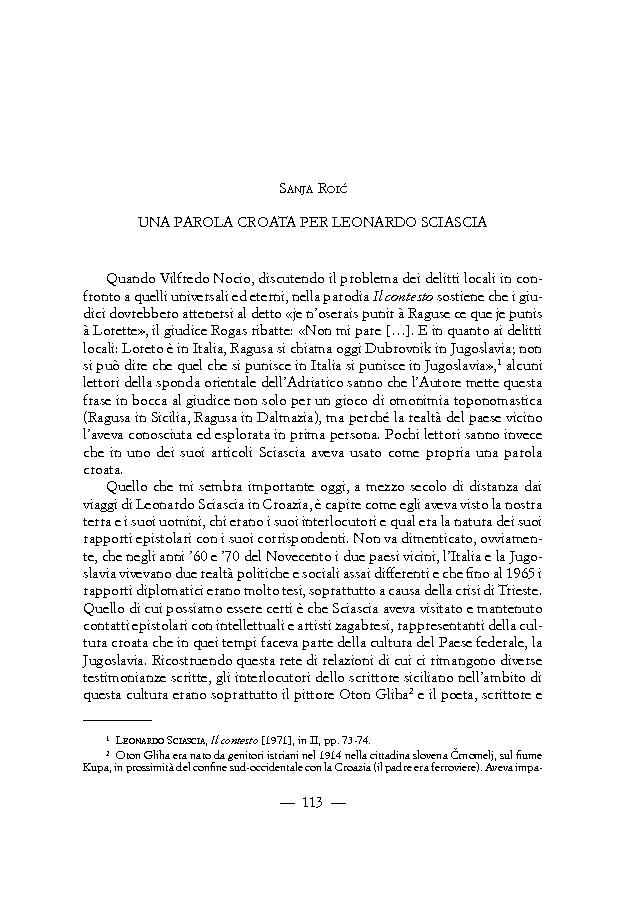 Una parola croata per Leonardo Sciascia - [Roić, Sanja] - [Firenze : Leo S. Olschki, 2015.]