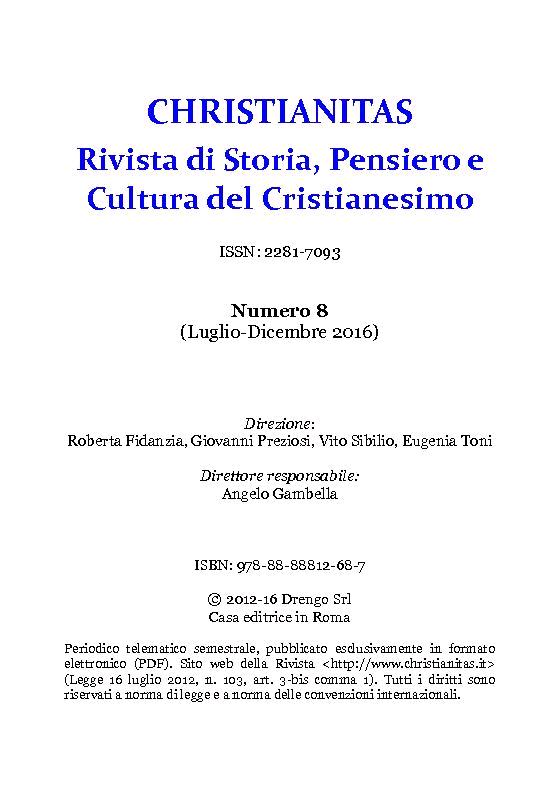 Christianitas : rivista di Storia, Pensiero e Cultura del Cristianesimo : 8, 2, 2016 -  - [Roma : Drengo, 2016.]
