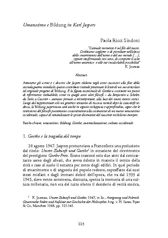 Umanesimo e Bildung in Karl Jaspers. - [Ricci Sindoni, Paola] - [Napoli : Orthotes, 2016.]