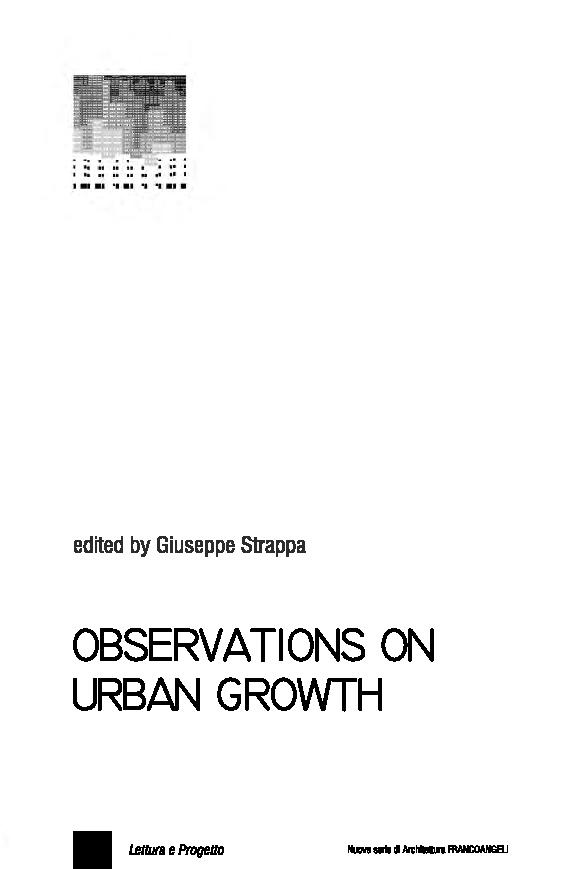 Observations on urban growth - [Strappa, Giuseppe] - [Milano : Franco Angeli, 2018.]